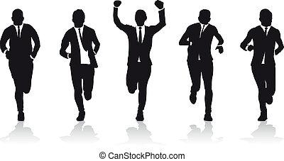 gruppo, affari, corridori