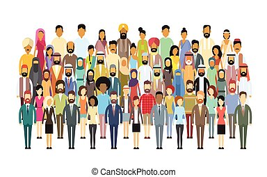 gruppo, affari, folla, persone, grande, miscelare, diverso,...