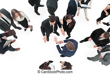 gruppo, affari, persone., isolato, grande, bianco, eccitato
