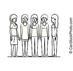 gruppo, amici, caratteri, donne