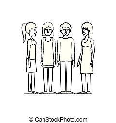 gruppo, amici, caratteri