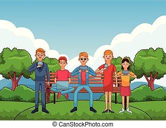 gruppo, amici, cartone animato