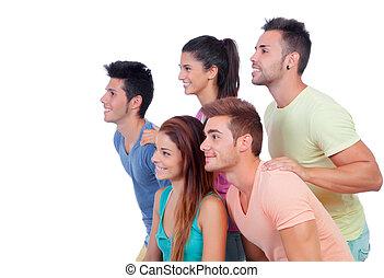 gruppo, amici, casuale