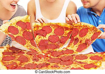 gruppo, amici, pizza