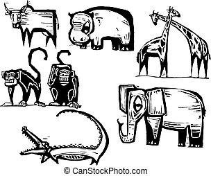 gruppo, animale, africano