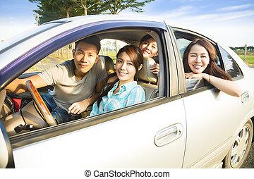 gruppo, automobile, giovane, divertimento, detenere, felice