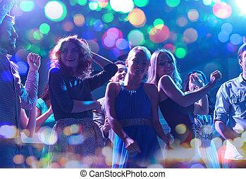 gruppo, ballo, club, notte, amici, felice