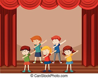 gruppo, bambini, ballo