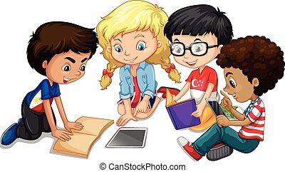 gruppo, bambini, compito