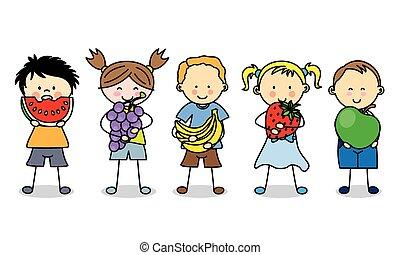 gruppo bambini, con, frutte