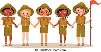 gruppo, bambini, esploratori