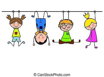 gruppo, bambini giocando