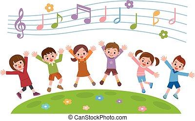 gruppo bambini, saltare, su, erba, collina