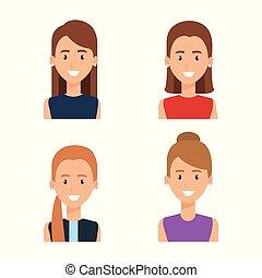 gruppo, caratteri, donne