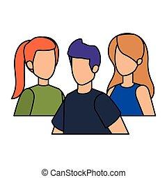 gruppo, caratteri, persone