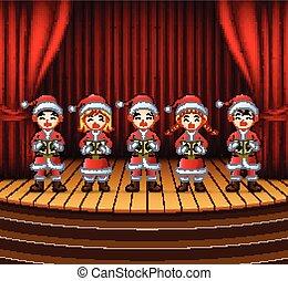 gruppo, carols, bambini, canto, natale, palcoscenico