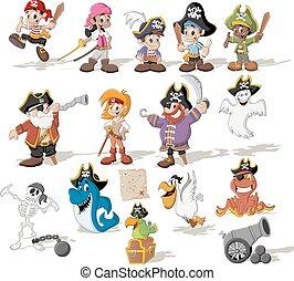 gruppo, cartone animato, pirati