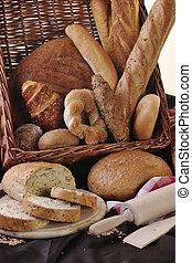 gruppo, cibo, pane fresco