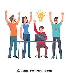 gruppo, collaboratore, isolato, illustrazione, idea, possedere
