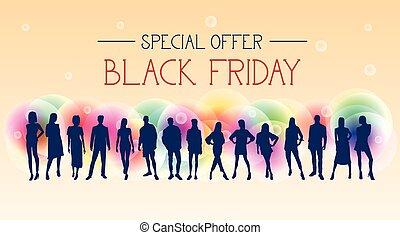 gruppo, colorito, persone, venerdì, silhouette, offerta, sfondo nero, bandiera, speciale