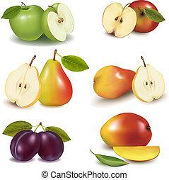 gruppo, con, differente, sorts, di, frutta