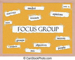 gruppo, concetto, corkboard, fuoco, parola