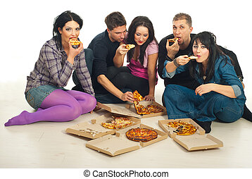gruppo, consumo pizza, amici