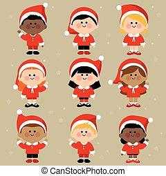 gruppo, costumes., vestito, claus, illustrazione, bambini, vettore, santa, diverso, natale