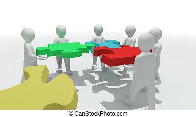gruppo, di, 3d-men, con, uno, puzzle
