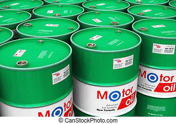 gruppo, di, accatastato, barili, con, olio automobilistico, lubrificante, in, magazzino
