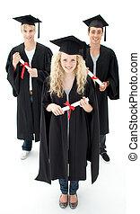 gruppo, di, adolescenti, festeggiare, secondo, graduazione