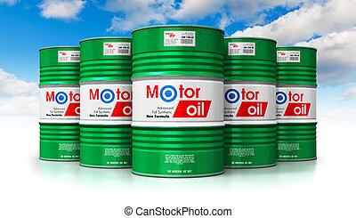 gruppo, di, barili, con, olio automobilistico, lubrificante, contro, cielo blu