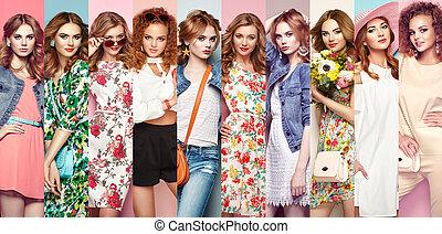 gruppo, di, bello, giovani donne