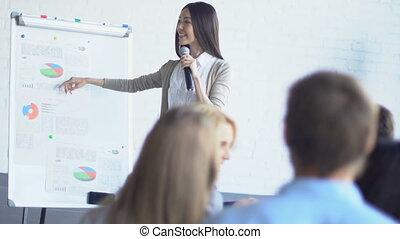 gruppo, di, businesspeople, ascoltare, donna affari,...