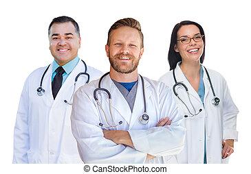 gruppo, di, corsa mescolata, maschio femmina, dottori, di, infermiere, isolato, bianco, fondo