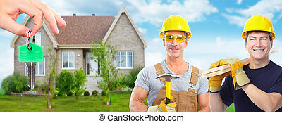 gruppo, di, costruzione, workers., casa, renovation.