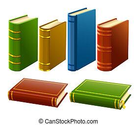 gruppo, di, differente, libri, con, vuoto, coperchio