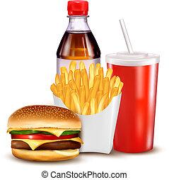 gruppo, di, fast food, prodotti