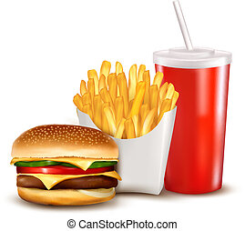 gruppo, di, fast food, products., illustration.