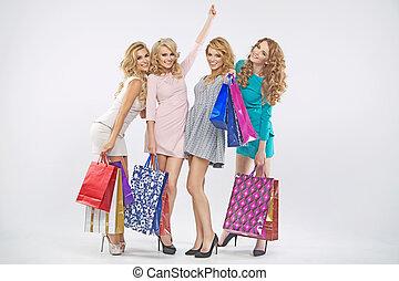 gruppo, di, favoloso, grils, su, shopping
