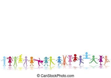 gruppo, di, felice, bambini giocando