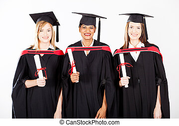 gruppo, di, femmina, laureati, a, graduazione