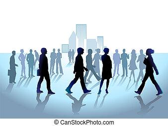 gruppo, di, folla, persone