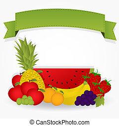 gruppo, di, frutta, con, uno, nastro