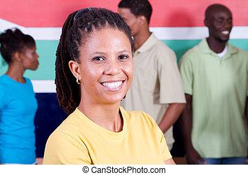 gruppo, di, giovane, africano, persone
