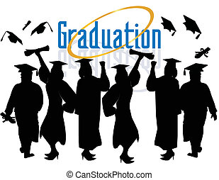 gruppo, di, laureati, celebrating...
