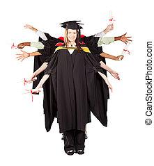 gruppo, di, laureati, divertimento, a, graduazione