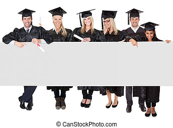 gruppo, di, laureato, studenti, presentare, vuoto, bandiera