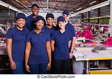 gruppo, di, lavoratori tessili