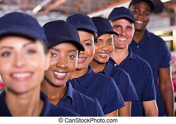 gruppo, di, lavoratori tessili, squadra